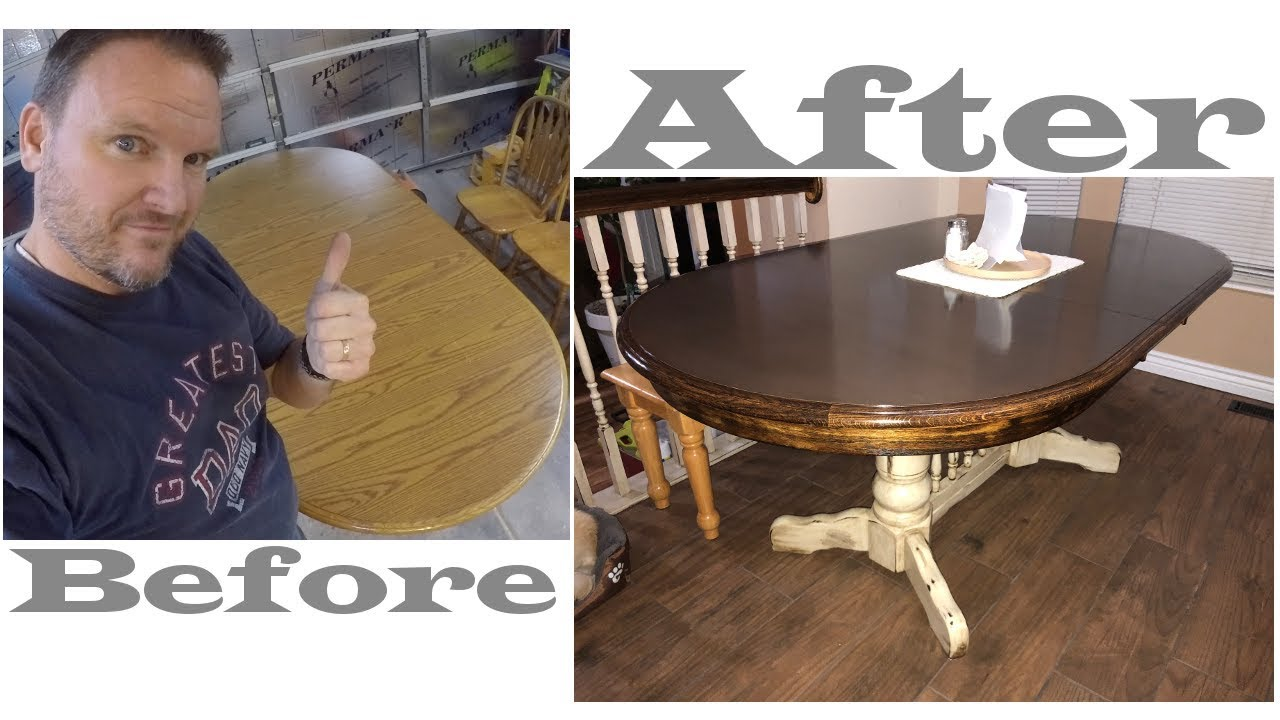 Dining Table Refinish White Antiquing With Dark Walnut Stain Youtube