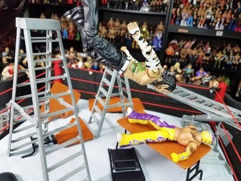 WHF EXTREME FIGHTS! TLC ACTION FIGURE MATCH! WWE MATTEL FIGURES! REY MYSTERIO VS JEFF HARDY