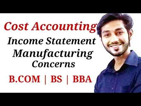 Income Statement   Manufacturing Concerns   BCOM, BS & BBA
