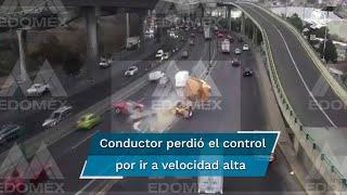 El conductor del tráiler perdió el control de su unidad, al chocar contra el muro de contención que divide carriles laterales de centrales por viajar a alta velocidad