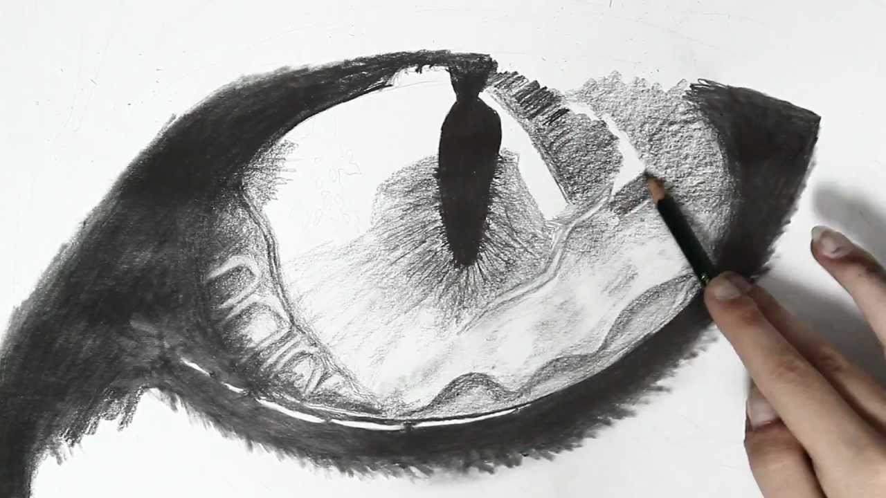 Realistic cat eye speed drawing - YouTube