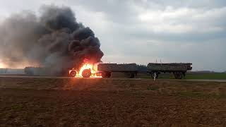 Pożar ciągnika deutz Fahr 6.61