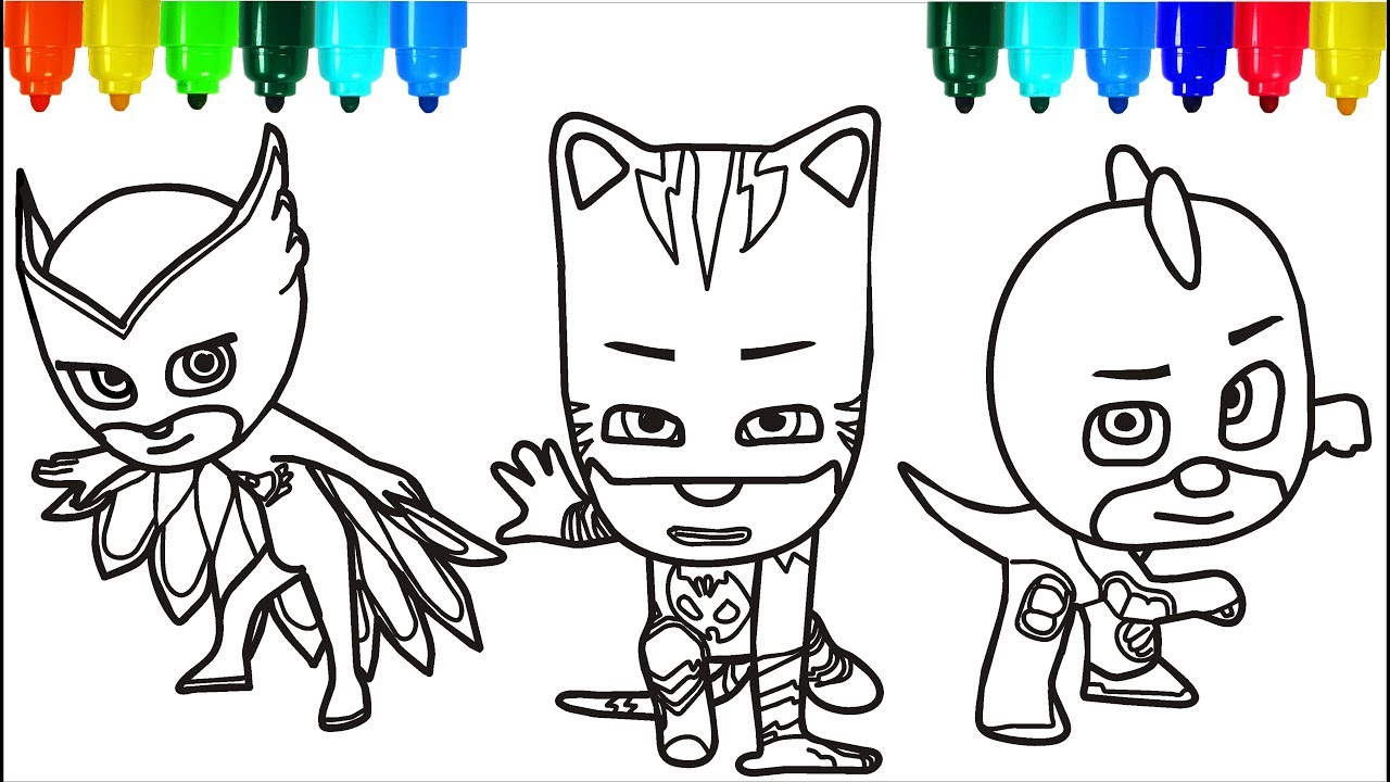 PJ Masks Santa Claus Coloring Pages | Colouring Pages For Kids With Colored  Markers