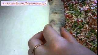 Роллы по Русски, с зеленью и сыром, помидором и колбасой. Очень быстро!