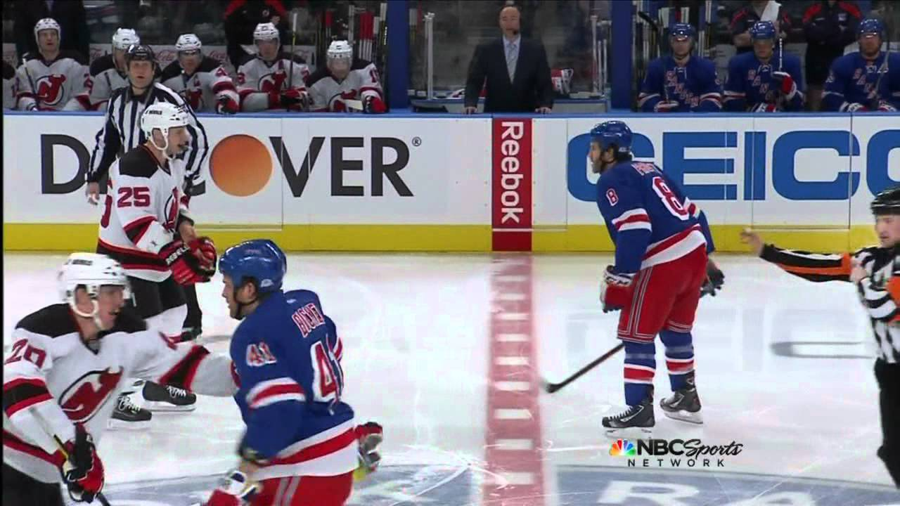 Rangers-Devils  3 fights on opening faceoff 3 19 12 - YouTube eb4b0036643