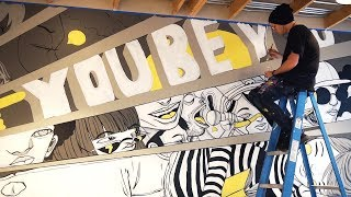 Making a Mural for a  Chain Restaurant!! - Mod Pizza Mural