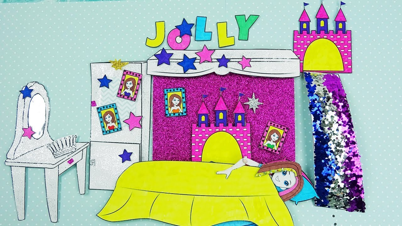 DIY How To Make Princess Glitter Bedroom For Paper Doll