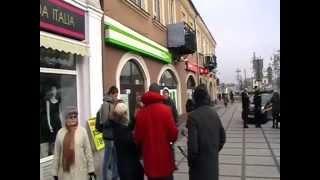 Getin Bank - protest w Częstochowie 05.12.2014.Interwencja ochrony i policji .