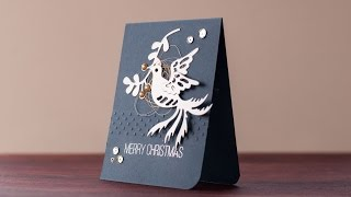Merry Christmas to all - holiday card series 17 - silver foil bird