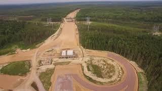 Смотреть видео Строительство СПАД М-11 Москва - Санкт-Петербург (развязка с А-120) август 2018 онлайн