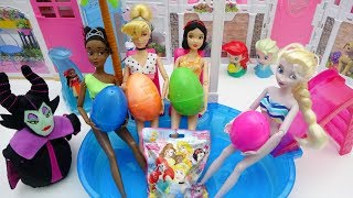 Pool Party! Disney Princess Frozen Elsa & Tiana WATER SLIDE IN OUR SWIMMING POOL!!