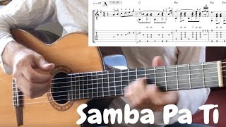 Samba Pa Ti TAB TUTORIAL Fingerstyle Guitar tabs Slomo lesson