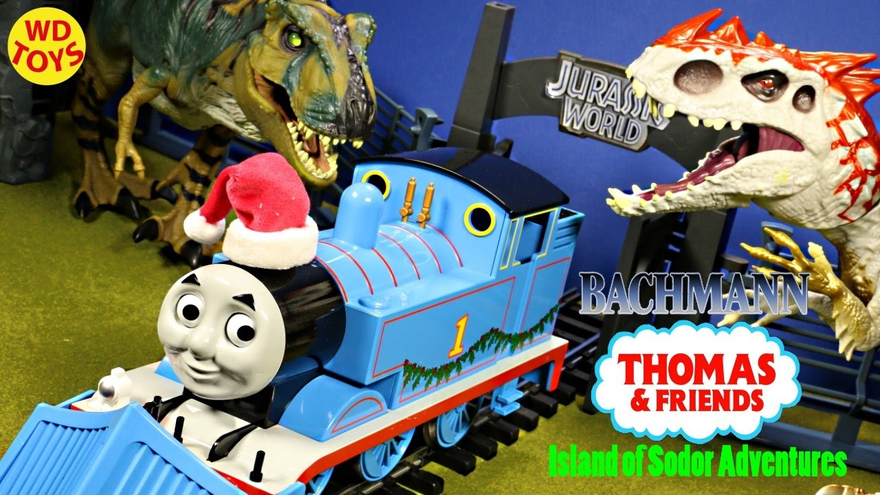 Thomas Christmas Train Set.New Bachmann Thomas And Friends Christmas Delivery Train Set Vs Jurassic World Dinosaurs Unboxing
