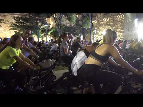 20180614 06:21 fitness bicycles with music at Jaffa Gate Square Jerusalem 2:54
