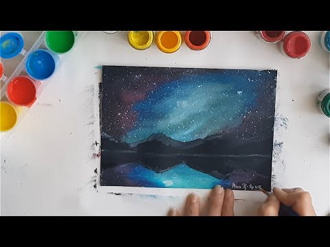 SPEED ART | Painting Night SKY – Gouache Technique