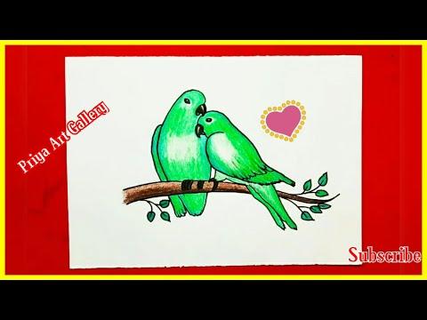 birds drawing | drawing for kids | love drawing | Priya Art Gallery