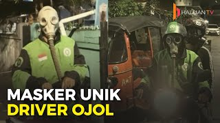 Unik!!! Driver Ojol Pakai Masker 'Anti Nuklir' Karena Khawatir Corona