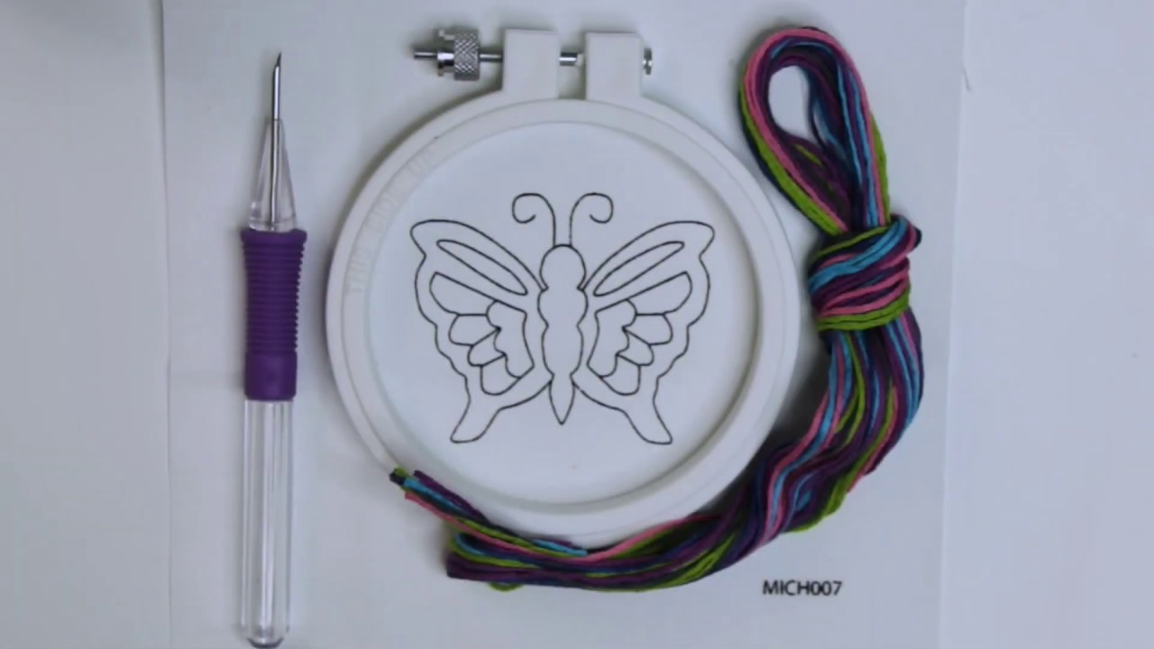 """Butterfly 4 Piece Punch Needle Kit by Loops /& Threads 3.5/"""" Round"""