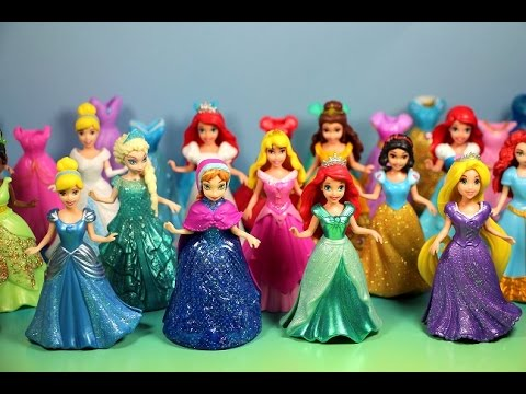 NEW MAGICLIP Disney Princesses Collection with dresses & dolls Cinderela, Tiana, Ariel