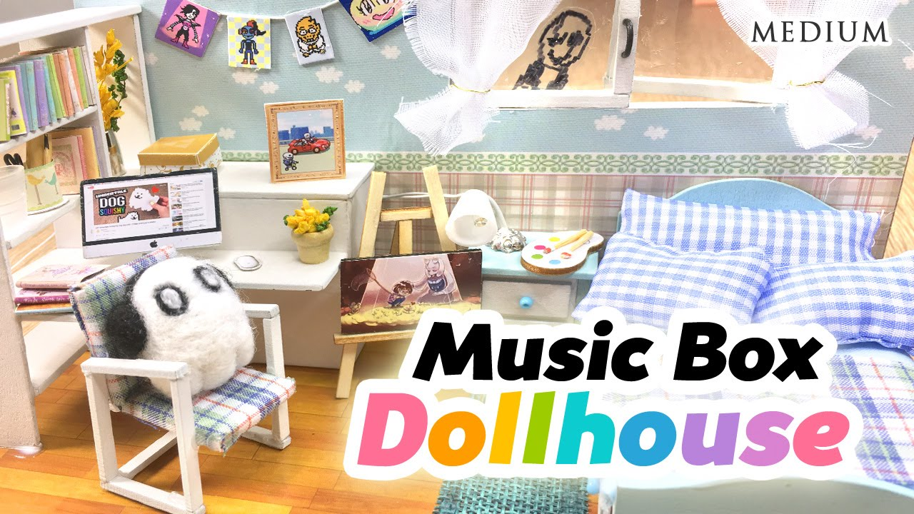Diy undertale toy dollhouse cute miniature room with music box and lights youtube - Adorable dollhouse bookshelves kids to decorate the room ...