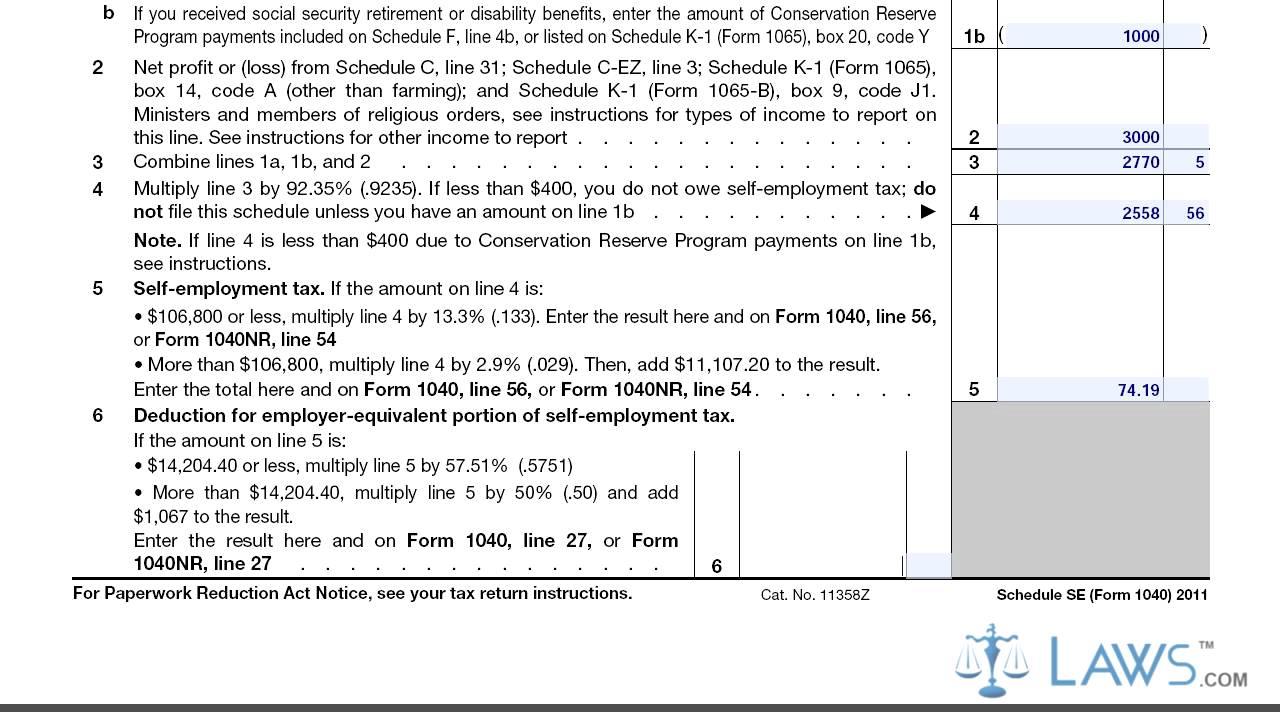 Self Employment Tax Schedule SE YouTube – Self Employment Tax Form