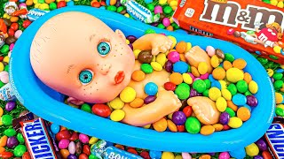 Satisfying Cool Video l New Mixing Candy in Rainbow BathTub M&M's & Magic Skittles Cutting ASMR #23