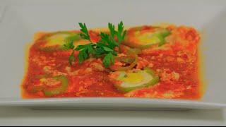 بيض بالطماطم و الثوم و الفلفل الرومي | نجلاء الشرشابي