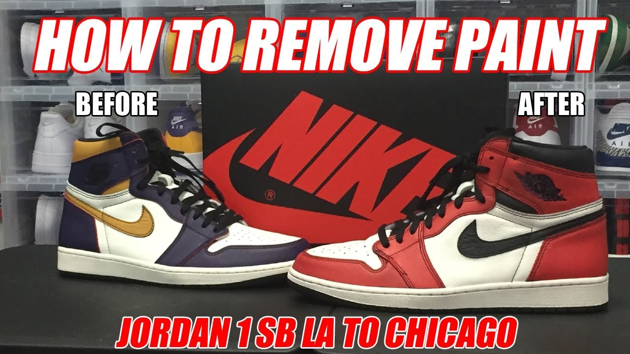 HOW TO REMOVE PAINT FROM JORDAN 1 SB LA