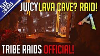 JUICY LAVA CAVE RAID? Part 1 | Tribe Raids Official PvP - Ark: Survival Evolved