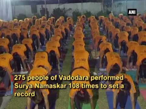 'yoga fever' 275 people attempt 108 surya namaskar to set