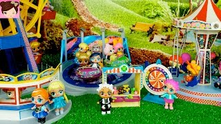 Baby Elsa Anna Toddler L.O.L Dolls playing in the Fair Amusement Park Rides Ferris Wheel, Carrousel