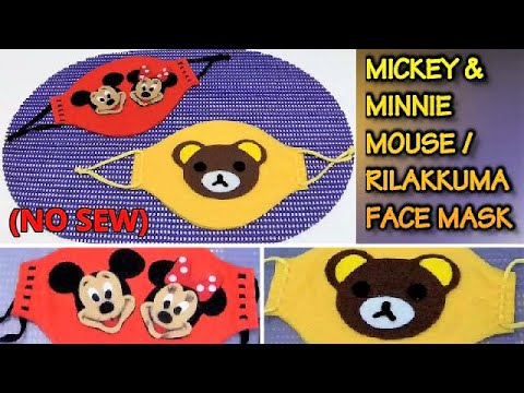 HOW TO MAKE MICKEY AND MINNIE MOUSE FACE MASK / RILAKKUMA FACE MASK (NO SEW)