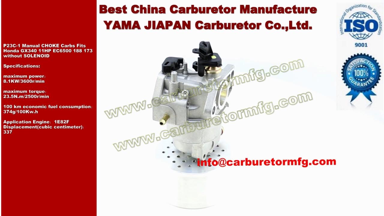 p23c 1 manual choke carbs fits honda gx340 11hp ec6500 188 173 rh youtube com Honda GX340 11 HP Engine Honda GX340 Parts Diagram