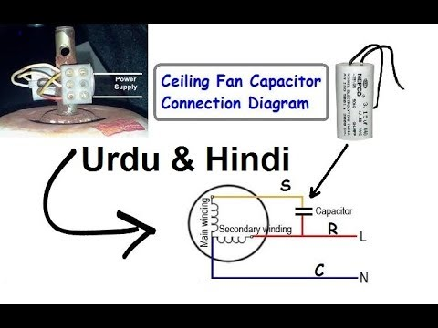 hqdefault ceiling fan capacitor connection diagram (hindi & urdu) youtube fan capacitor wiring diagram at crackthecode.co