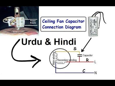 Ceiling Fan Capacitor Connection Diagram (Hindi & Urdu