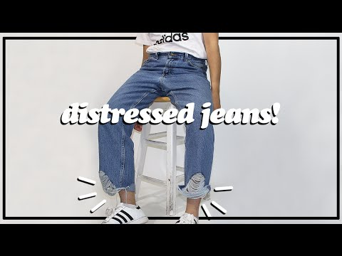 44306bd0683 DIY: Distressed Bottoms Jeans! - YouTube