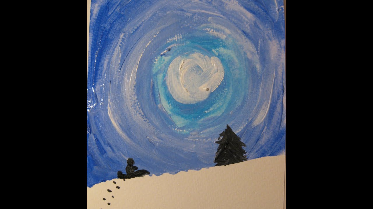 Winter Silhouette A Preschool Early Elementary Painting Lesson Youtube