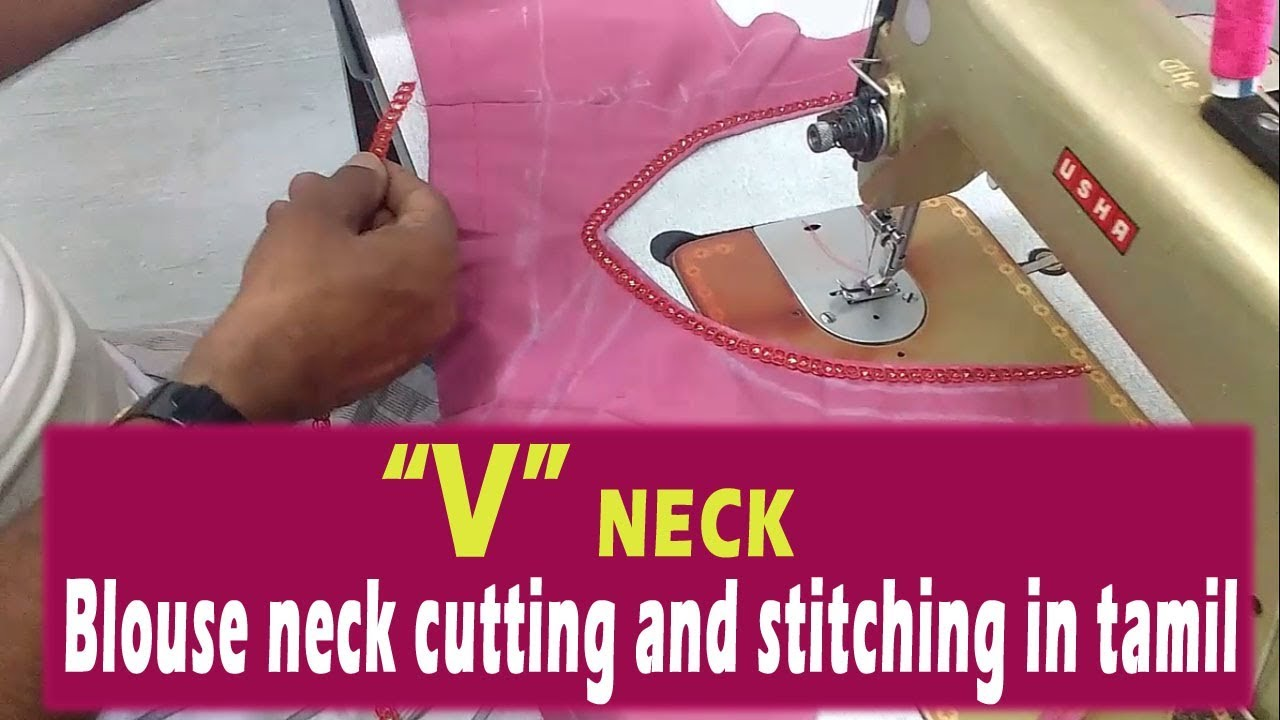 Tamil blouse neck stitching model in and cutting