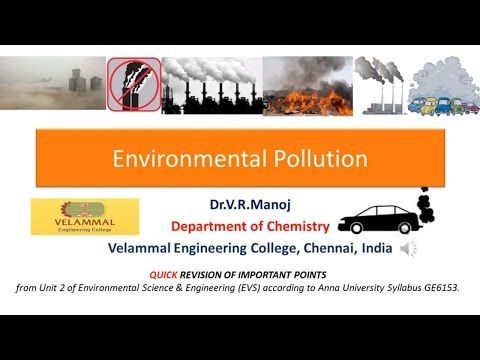 Environmental Pollution Quick Introduction EVS GE6153 Anna University syllabus