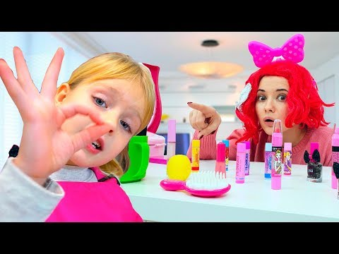 Margo And Nastya Play /w Kids Make Up Hair Styling Beauty Salon Toys