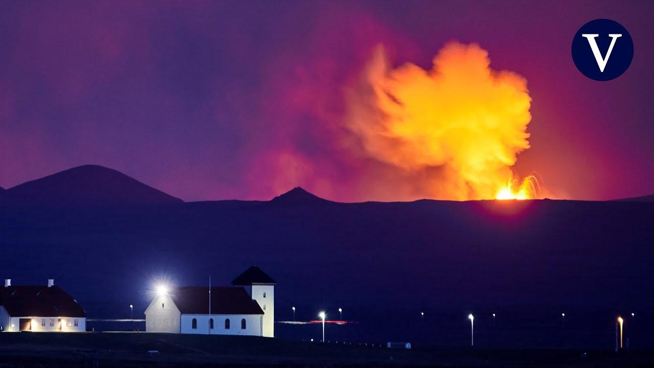 Erupción del volcán en Islandia se convierte en un géiser