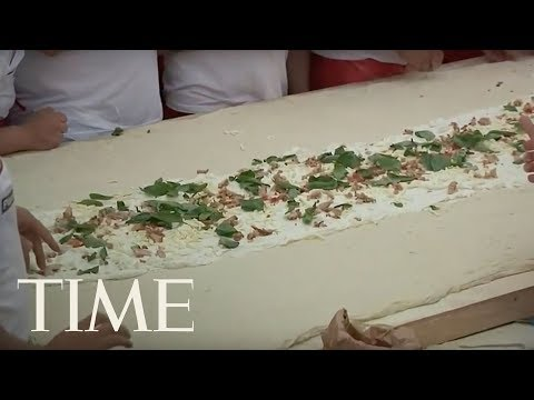 50 Pizza Makers Are Attempting To Make The Longest Fried Pizza In The World | LIVE | TIME