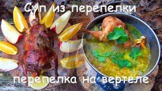Лесная кухня: БОМБА СУП из ПЕРЕПЁЛКИ  ПЕРЕПЁЛКА на ВЕРТЕЛЕ!
