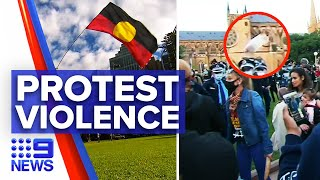 Peaceful Black Lives Matter protest turns violent | 9 News Australia