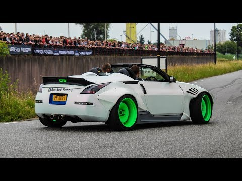 Modified cars leaving a car show | Cars & Coffe Twente 2018