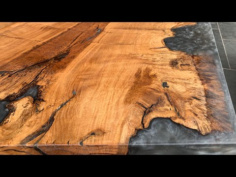 Oak Table Reversible Grey Epoxy Resin
