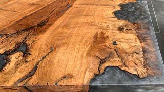 Oak Table Reversible Grey Epoxy Resin