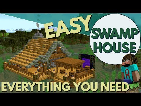 Minecraft House Tutorial 1.14: How to Build a Swamp Base in Minecraft | Swamp House (Avomance 2019)