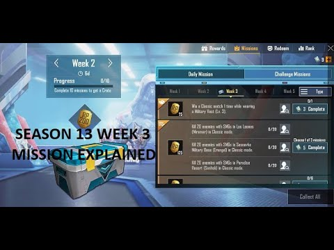 Download SEASON 13 WEEK 3 ROYALE PASS MISSION EXPLAINED||PUBG MOBILE