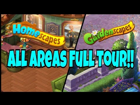 HOMESCAPES / GARDENSCAPES IOS / Android Gameplay Walkthrough All Area's Restored Full Overview Tour